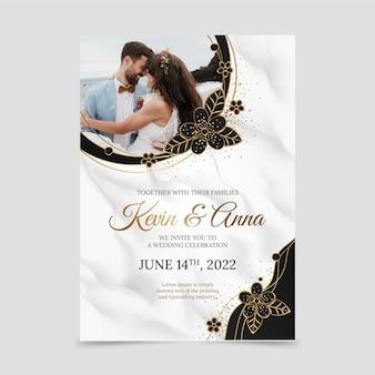 Gradientowe złote zaproszenie na ślub ze zdjęciem