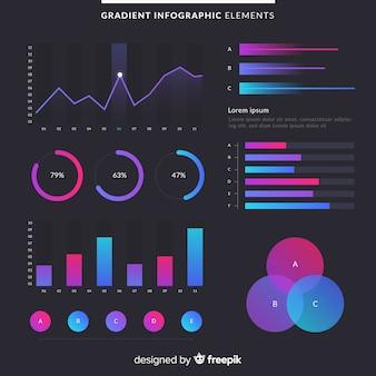 Gradientowi infographic elementy z ciemnym tłem