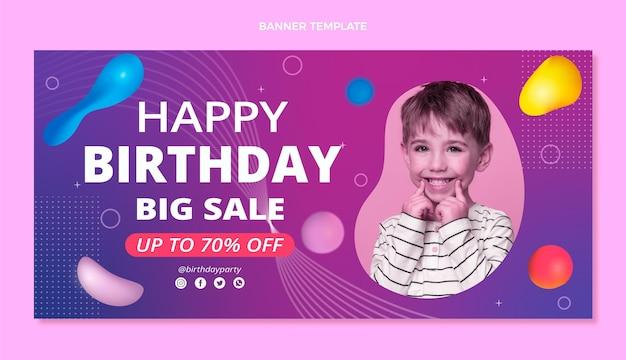 Gradientowy abstrakcyjny baner urodzinowy z płynem