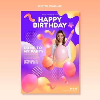 Gradientowy abstrakcyjny plakat urodzinowy z płynem