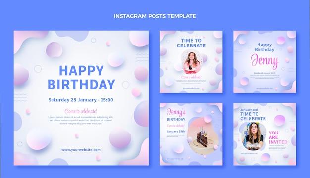 Gradientowy abstrakcyjny płyn urodzinowy ig post