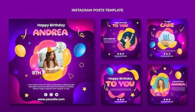 Gradientowy abstrakcyjny płyn urodzinowy post na instagramie