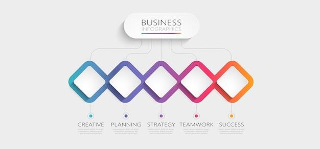 Gradientowy abstrakcyjny szablon infografiki 3d z opcjami dla broszury