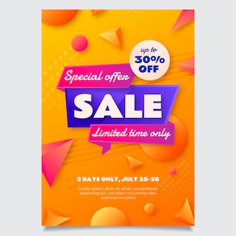 Gradientowy abstrakcyjny szablon plakatu sprzedaży
