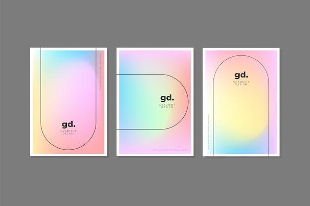 Gradientowy abstrakcyjny szablon zestawu plakatów