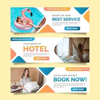 Gradientowy baner hotelowy ze zdjęciem