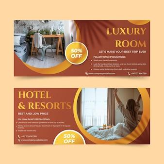 Gradientowy baner hotelu z szablonem zdjęcia