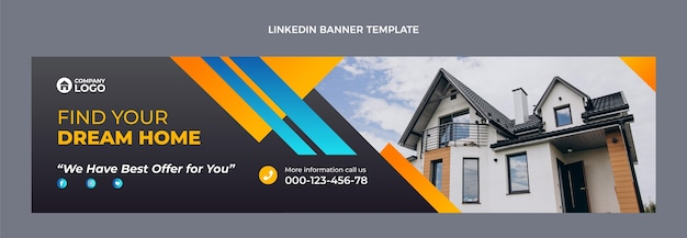 Gradientowy baner linkedin nieruchomości
