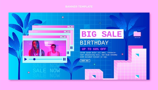 Gradientowy baner urodzinowy w stylu retro vaporwave