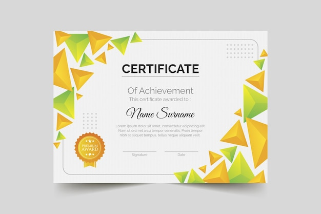 Gradientowy certyfikat osiągnięć