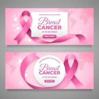 Gradientowy dzień międzynarodowy przeciw rakowi piersi ustawione poziome banery