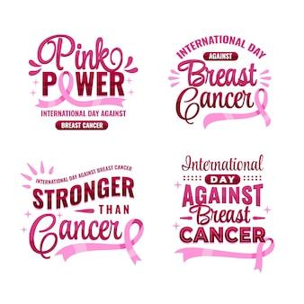 Gradientowy dzień międzynarodowy przeciwko kolekcji etykiet z napisami raka piersi