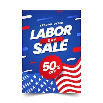 Gradientowy dzień pracy sprzedaż pionowy szablon plakatu