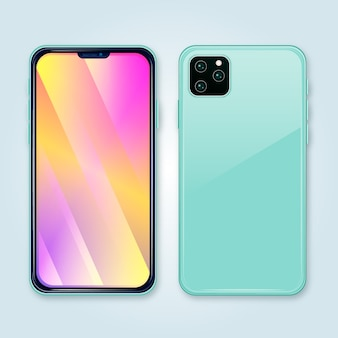 Gradientowy ekran telefonu i jasnoniebieska obudowa