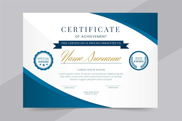 Gradientowy elegancki certyfikat osiągnięć