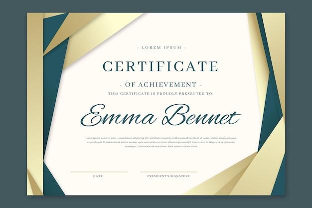 Gradientowy elegancki certyfikat szablonu osiągnięcia