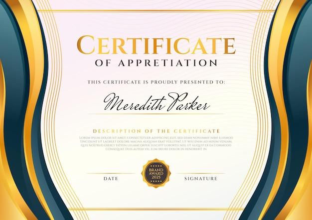 Gradientowy elegancki certyfikat uznania szablonu
