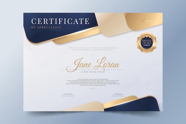 Gradientowy elegancki certyfikat