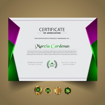 Gradientowy elegancki projekt szablonu certyfikatu
