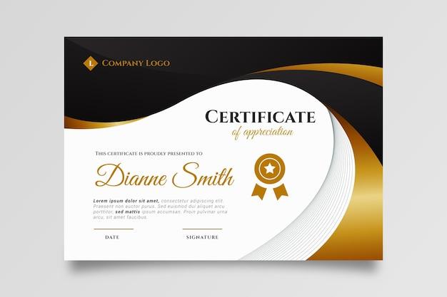 Gradientowy elegancki szablon certyfikatu