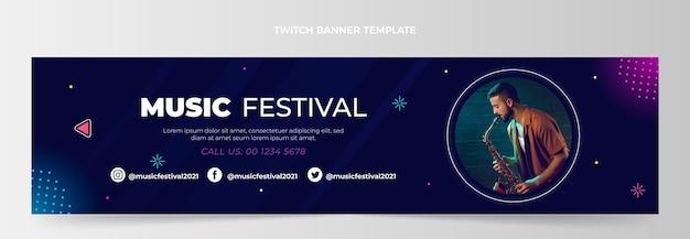 Gradientowy festiwal muzyczny twitch banner