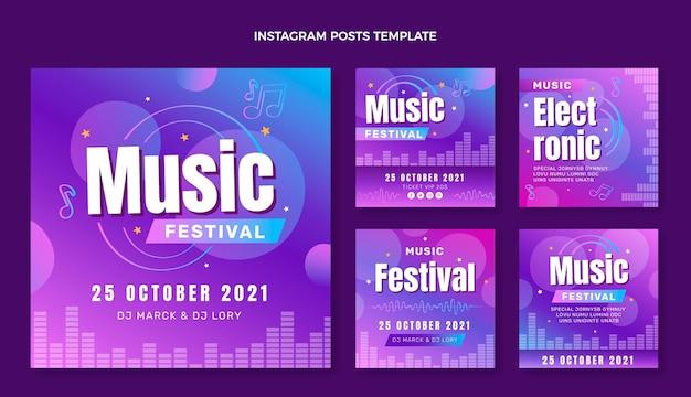 Gradientowy Festiwal Muzyki Kolorowej Ig Post Premium Wektorów