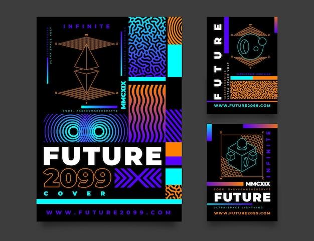 Gradientowy futurystyczny pakiet okładek