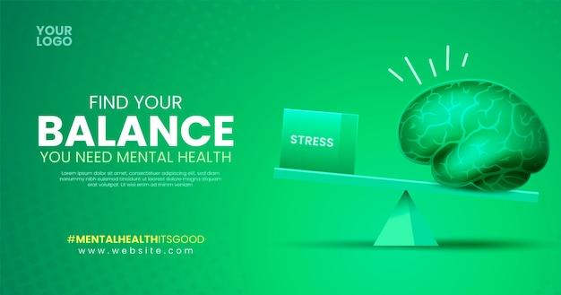 Gradientowy gradient zdrowia psychicznego na facebooku postmental zdrowia post na facebooku