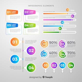Gradientowy infographic elementu collectio