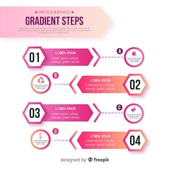 Gradientowy infographic kroka szablon