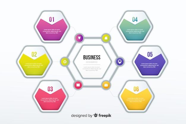 Gradientowy infographic szablonu płaski projekt