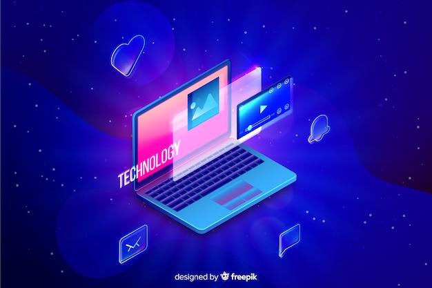Gradientowy izometryczny laptop technologii tło