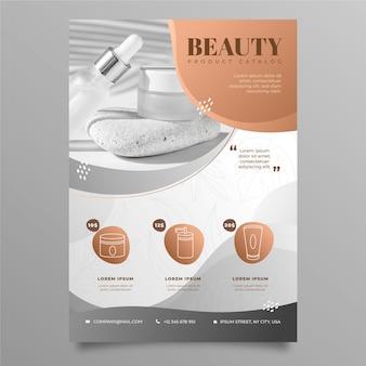 Gradientowy katalog produktów kosmetycznych ze zdjęciem