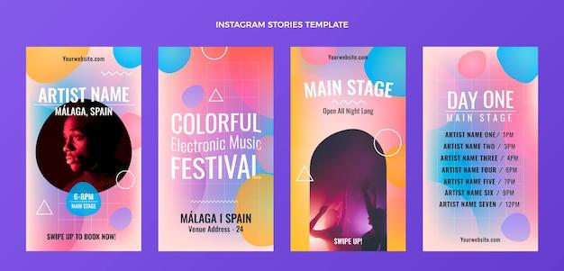 Gradientowy kolorowy festiwal muzyczny ig historie