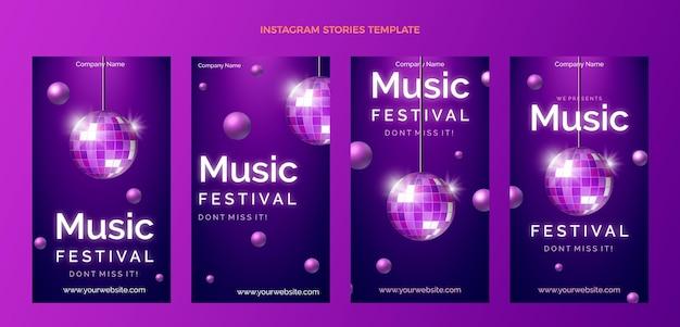 Gradientowy kolorowy festiwal muzyczny ig
