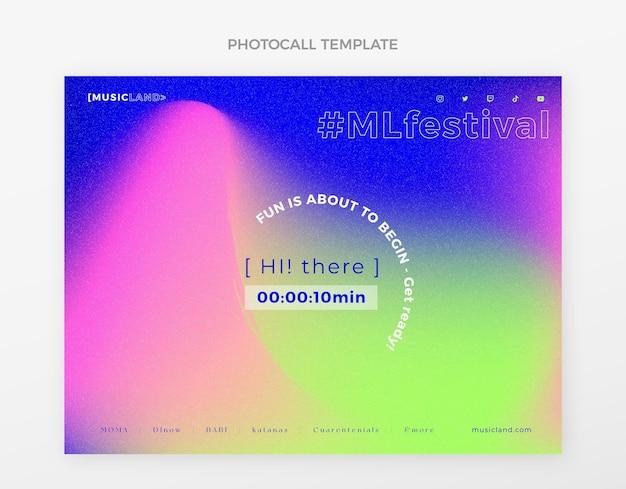 Gradientowy kolorowy festiwal muzyczny photocall