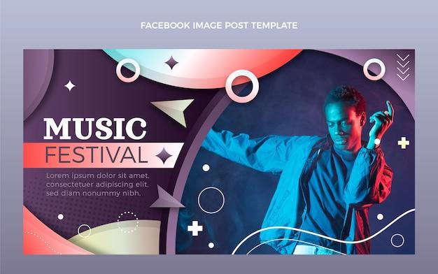 Gradientowy kolorowy festiwal muzyczny post na facebooku