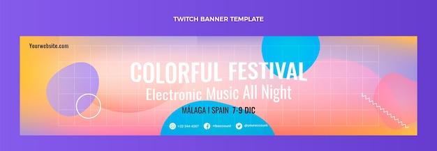 Gradientowy kolorowy festiwal muzyczny twitch baner