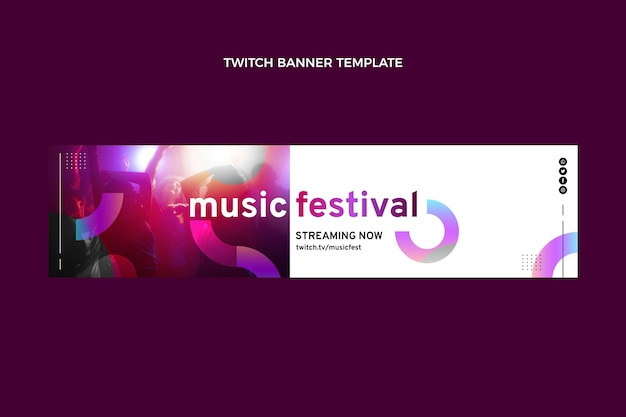 Gradientowy kolorowy festiwal muzyczny twitch banner
