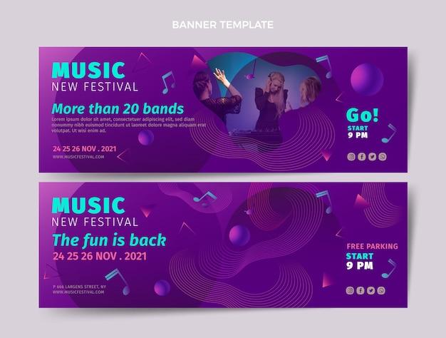 Gradientowy kolorowy festiwal muzyczny ustawiony poziome banery