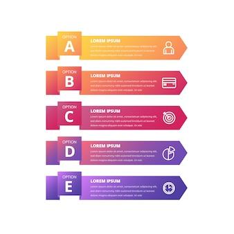 Gradientowy kolorowy infographic sztandaru szablon