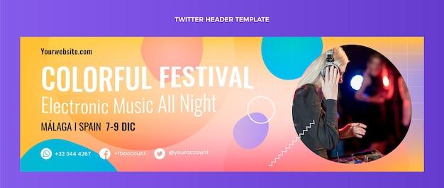 Gradientowy kolorowy nagłówek festiwalu muzycznego na twitterze