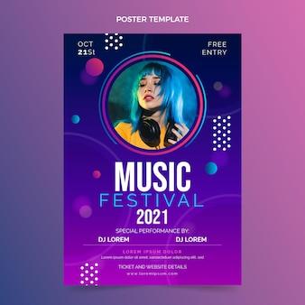 Gradientowy kolorowy plakat festiwalu muzycznego