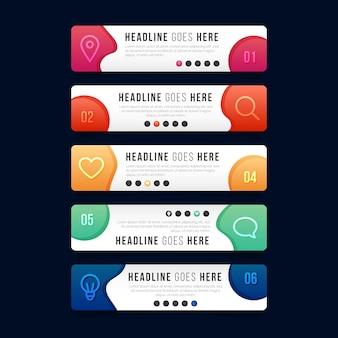 Gradientowy kolorowy szablon infografiki spisu treści
