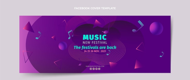 Gradientowy kolorowy szablon okładki festiwalu muzycznego w mediach społecznościowych