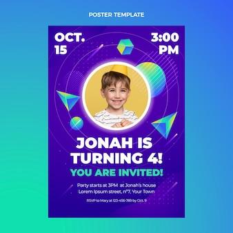 Gradientowy kolorowy szablon plakatu urodzinowego