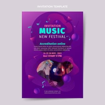 Gradientowy kolorowy szablon zaproszenia na festiwal muzyczny