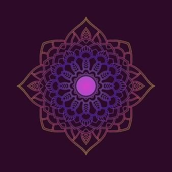 Gradientowy kolorowy wzór mandali. motyw kwiatowy w neonowym kolorze. tkanina tekstylna gradientowa kolorowa mandala w tle tapety. motyw kwiatowy w neonowym kolorze. arabeska z tkaniny.