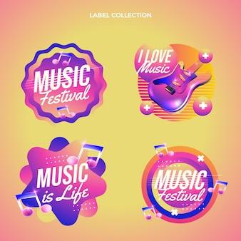 Gradientowy kolorowy zestaw etykiet festiwalu muzycznego