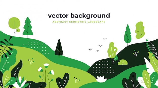 Gradientowy krajobraz roślin. minimalistyczny projekt płaskich liści, tło kreskówka gradacja kolorów, rośliny leśne.
